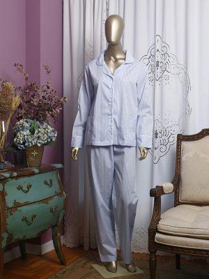 Pijama Listrado Azul e Branco