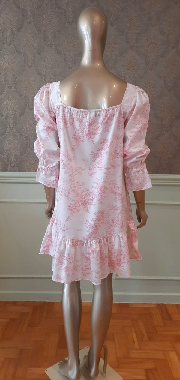 Manequim veste camisola curta manga longa toile de jouy rosa