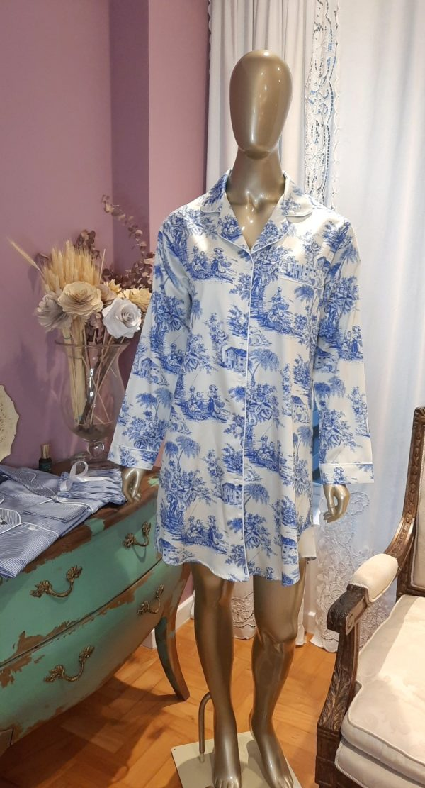 Manequim veste chemise toile de jouy azul
