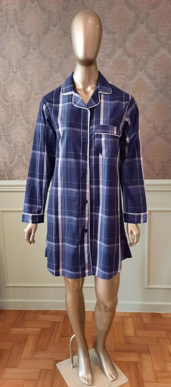 Manequim veste chemise xadrez azul