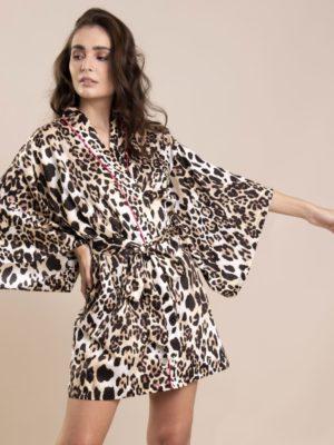 Kimono Curto Estampa Leopardo