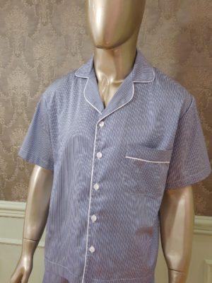 Pijama Curto Listrado Blue Marine