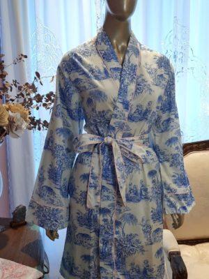 Robe Curto Toile de Jouy Azul debrum Rosa