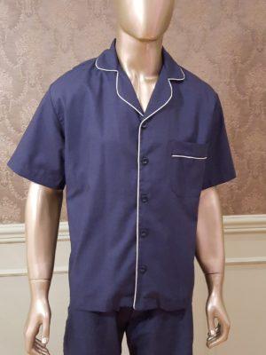 Pijama Curto Maquinetado Midnight Blue