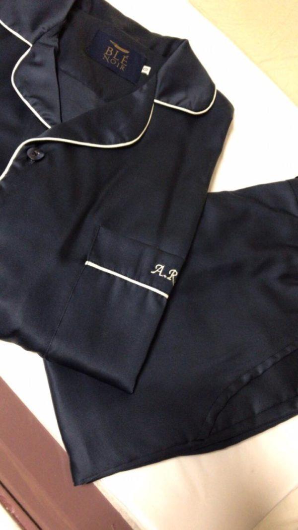 Pijama calça e camisa manga longa na cor marinho
