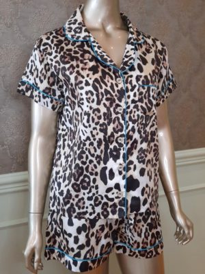 Pijama Valentine Leopardo Debrum Turquesa