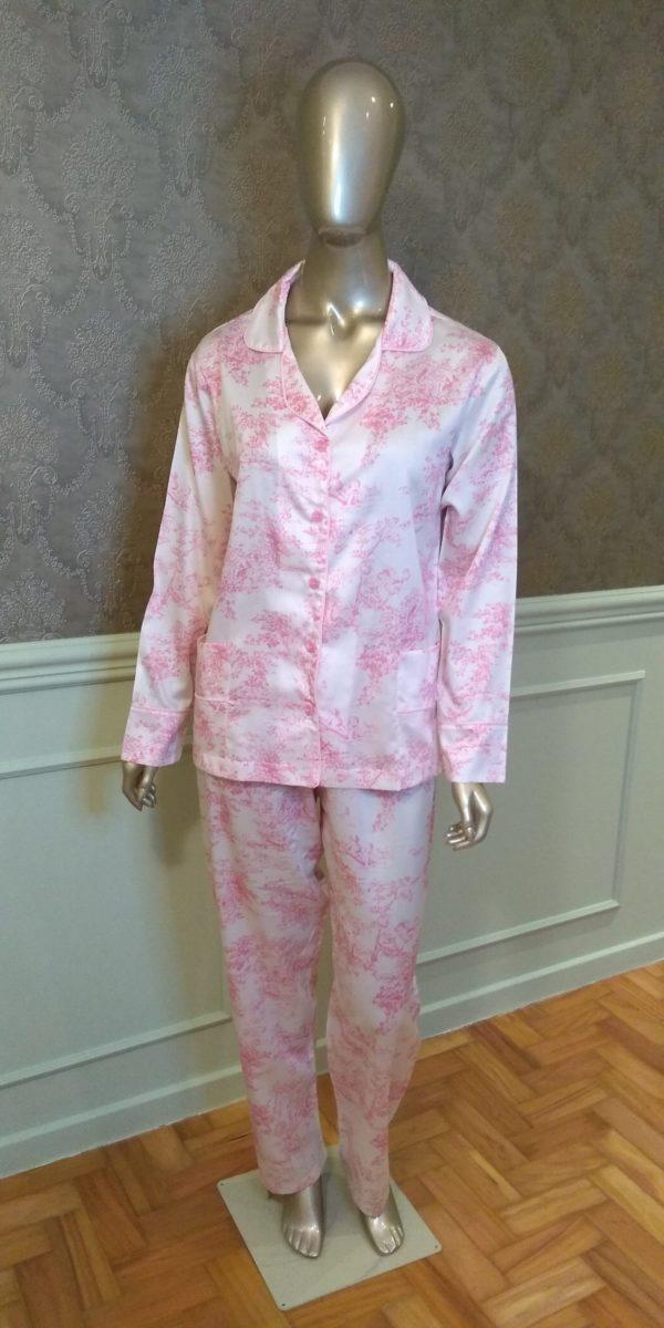 Manequim veste pijama calca e camisa manga longa toile de jouy azul
