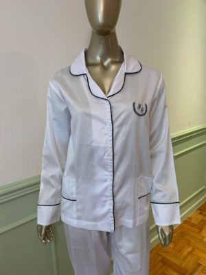 Pijama Tradição Branco Debrum Marinho