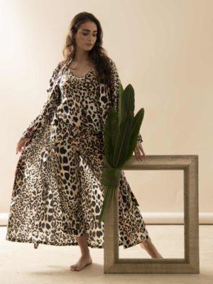 Robe Longo Leopardo Debrum Pink