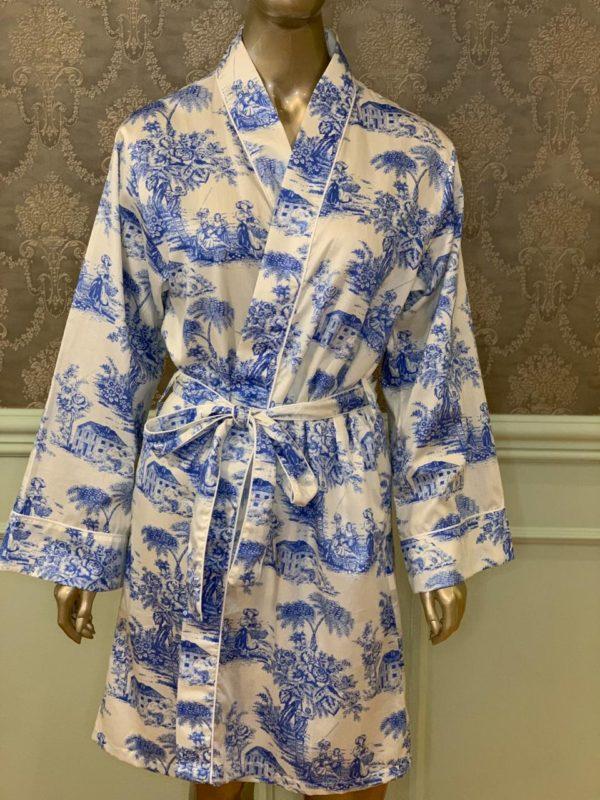 Manequim veste robe curto toile de jouy azul