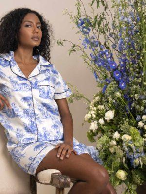 Pijama Valentine Toile de Jouy Azul